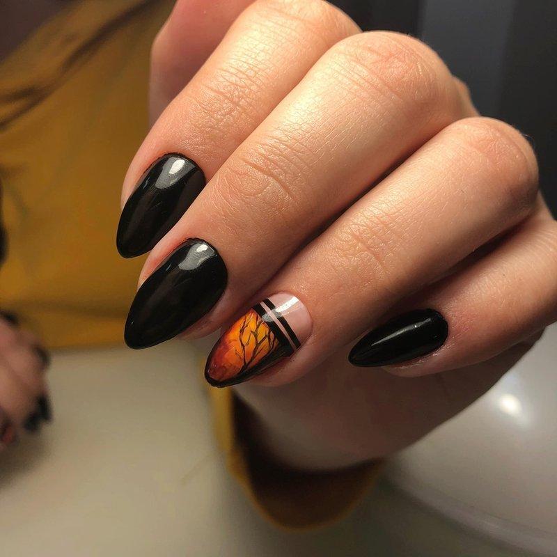черен маникюр есен
