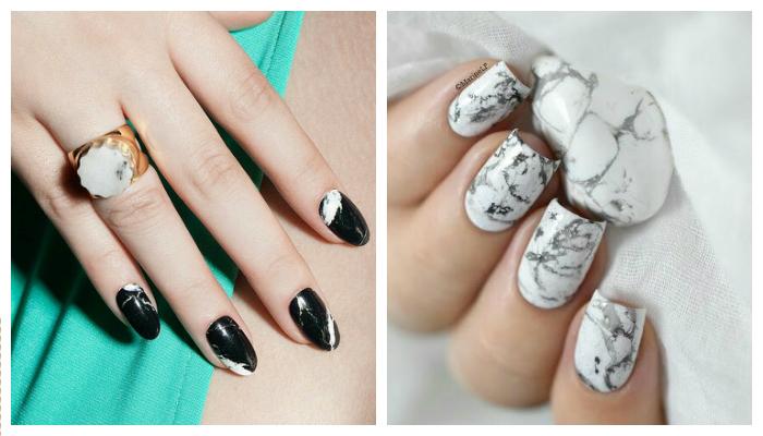 стилен мраморен дизайн на ноктите