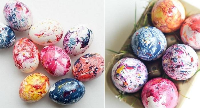 боядисани яйца с пастели
