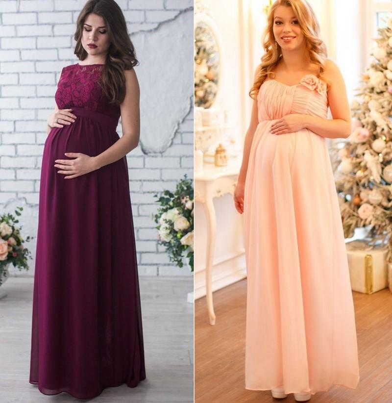 Сватбена рокля за бременни цветна