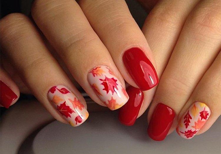 маникюр есенни листа червено