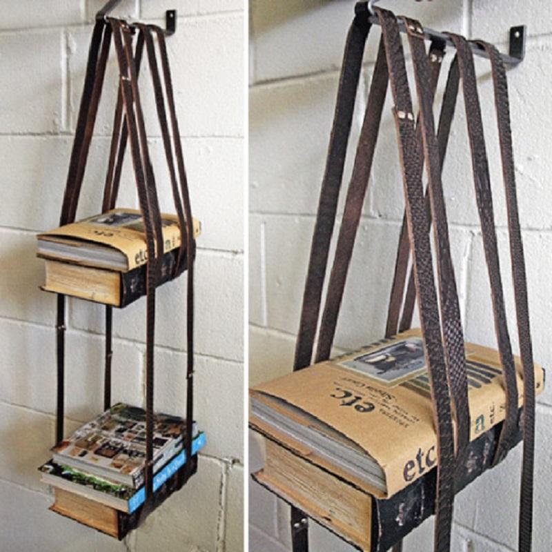 етажерка за книги от стари колани
