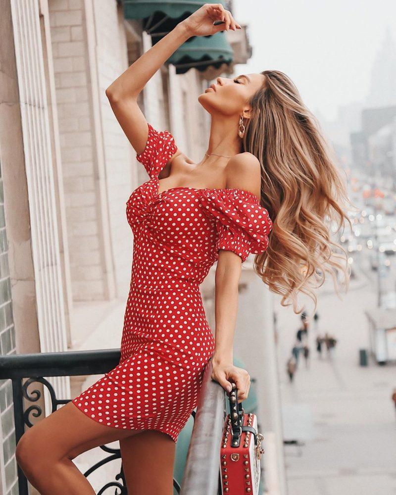 лятна рокля на точки