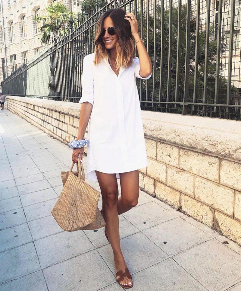 бяла рокля тип риза
