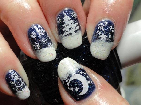 Стилен Новогодишен маникюр за къси нокти