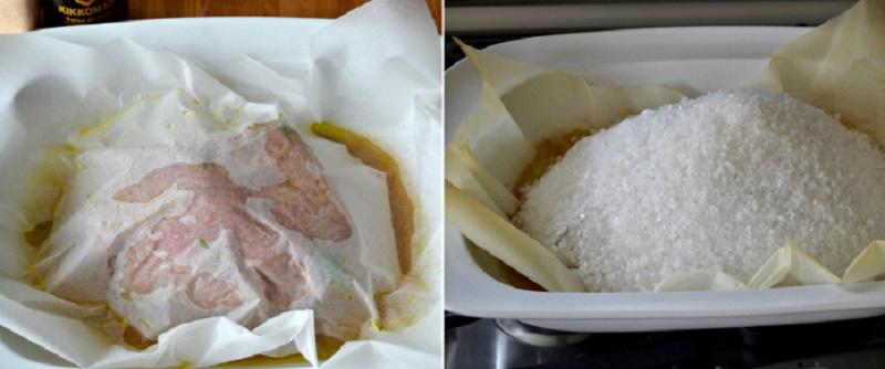 печено месо в сол