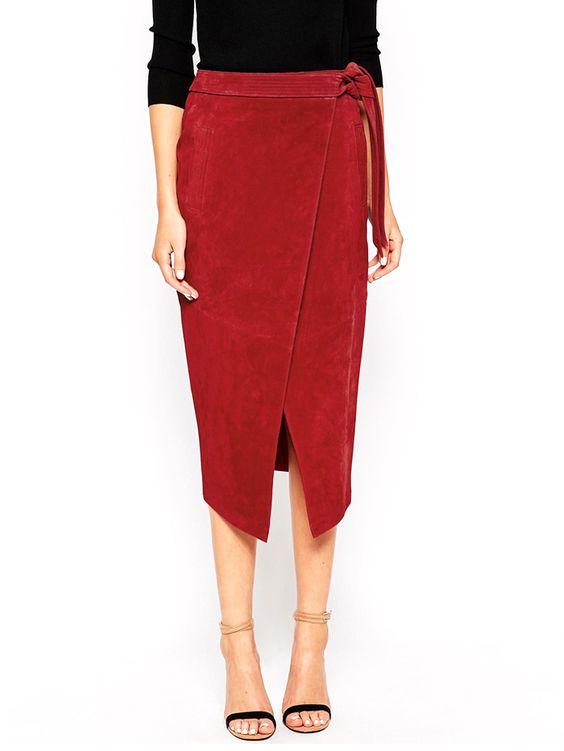 червена пола с прихлупване