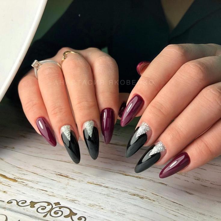 винен маникюр дълги нокти