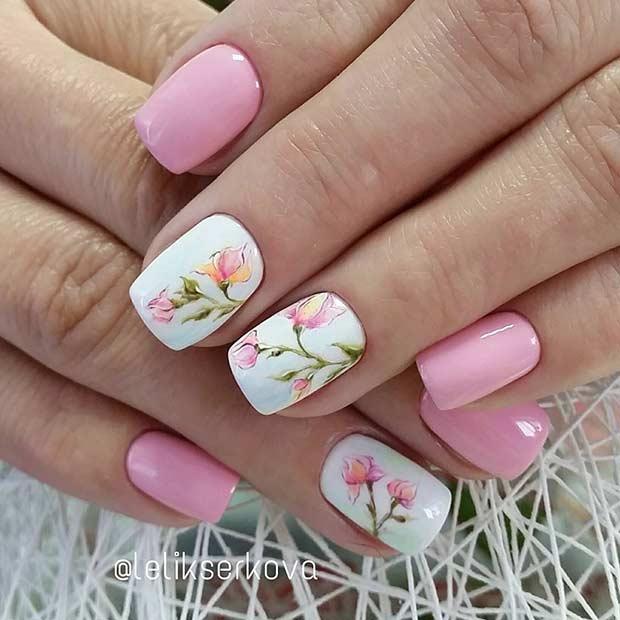 розов маникюр с цветя и бяло