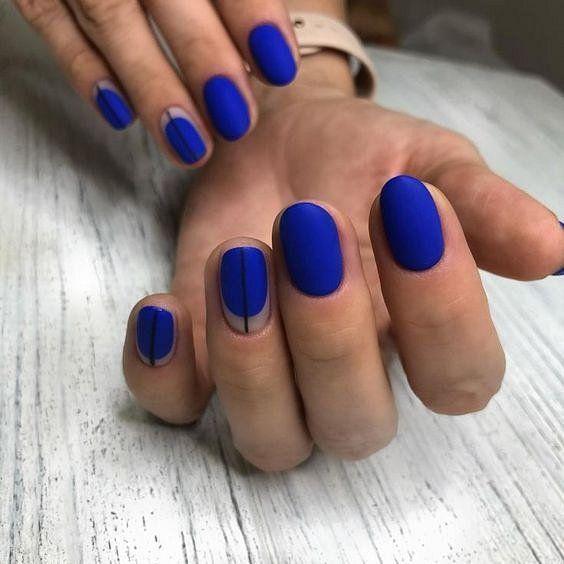 Празничен маникюр за къси нокти в синьо