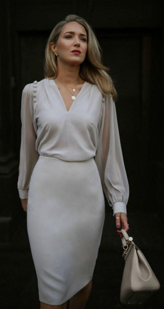 елегантна светла рокля