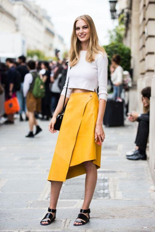 жълта асиметрична пола