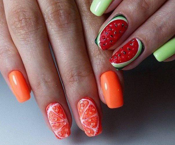 маникюр грейпфрут