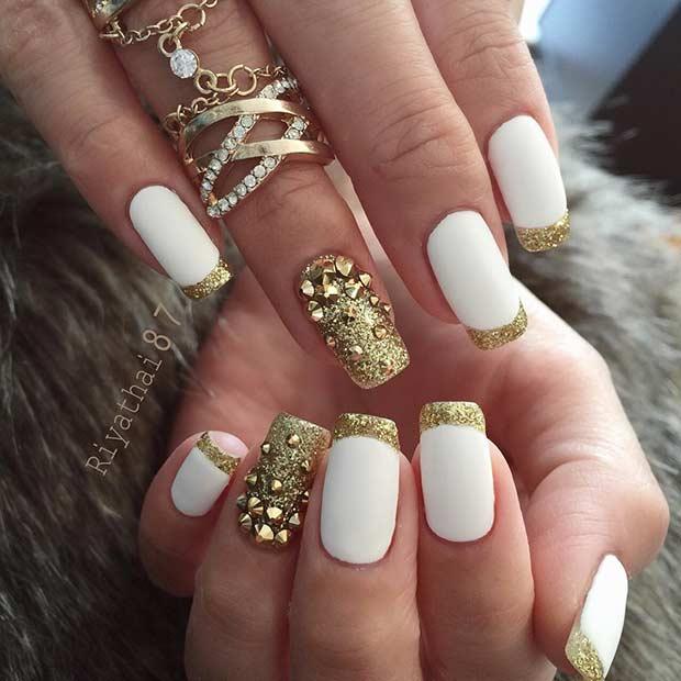 френч бяло и златно