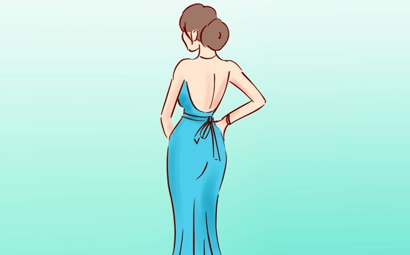 рокля гол гръб