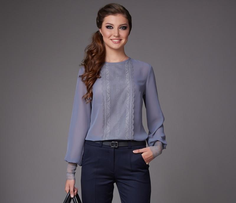 шифон блуза с дантела