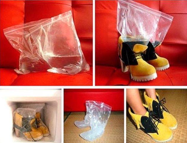 разширяване на обувки с вода