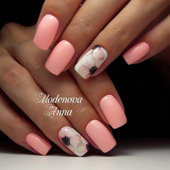 нежен маникюр в розово
