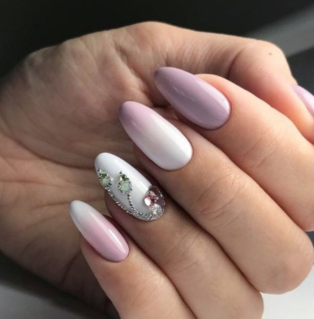 омбре в бяло и розово