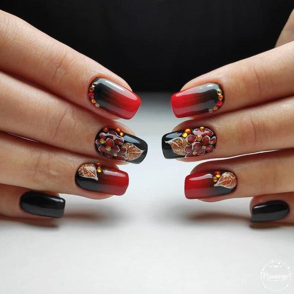 есенен маникюр бордо с кристали