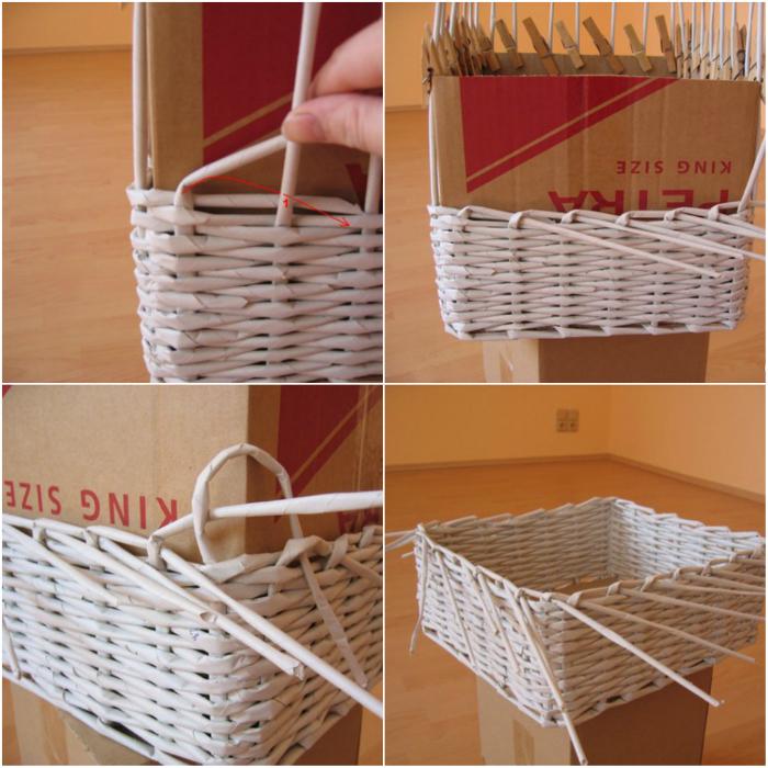 плетени кошници от вестници