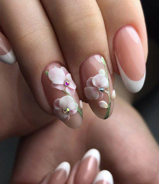 маникюр бяла орхидея