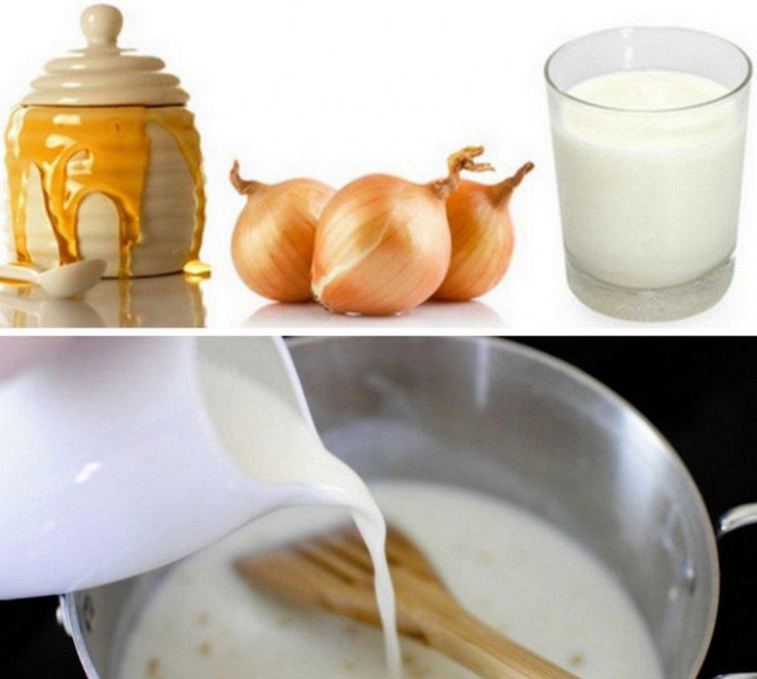 лук с мляко и мед