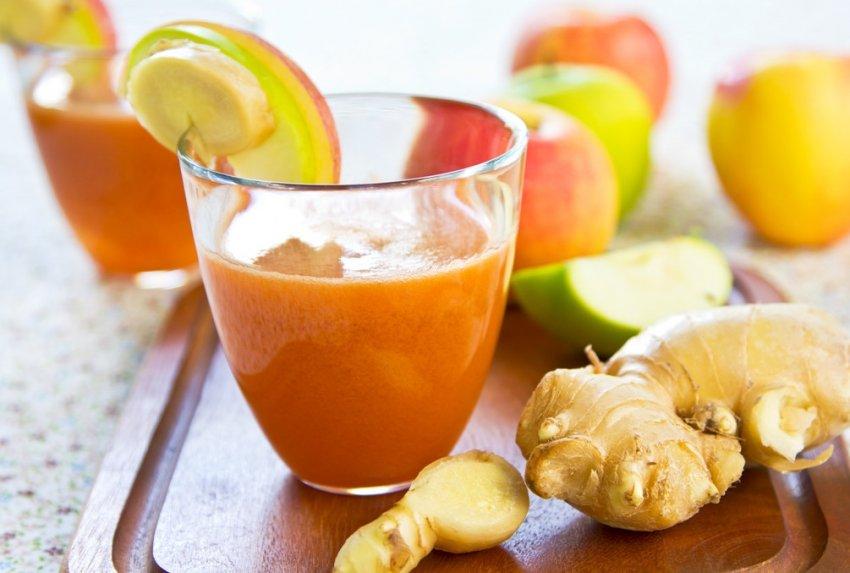 напитка с джинджифил и ябълка