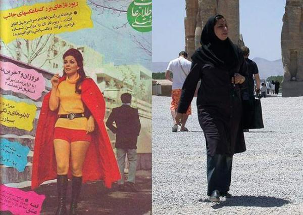 жените в Иран преди и сега