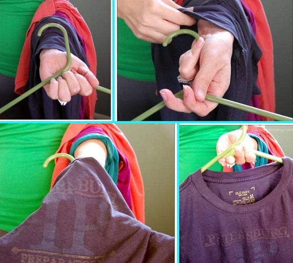 няколко дрехи на една закачалка