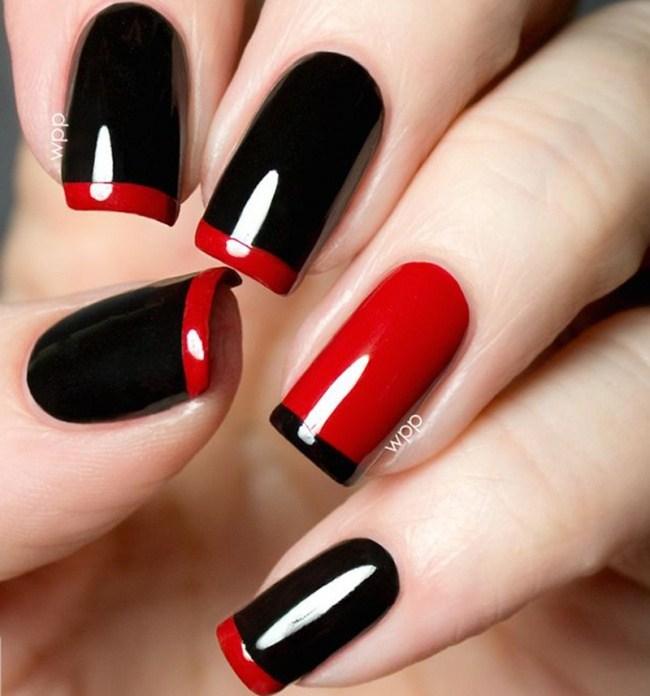 Френски маникюр с червено и черно