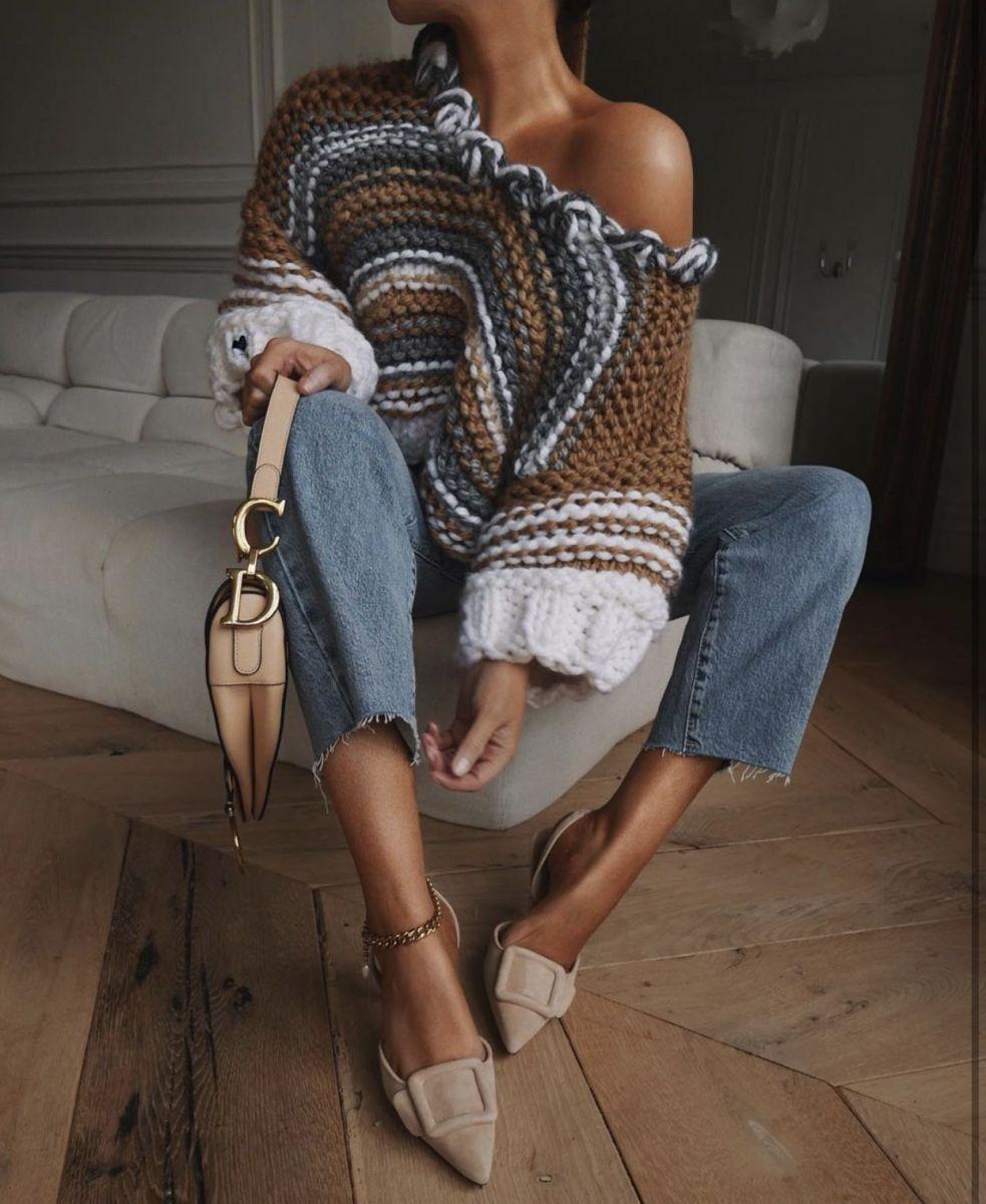 широк плетен пуловер