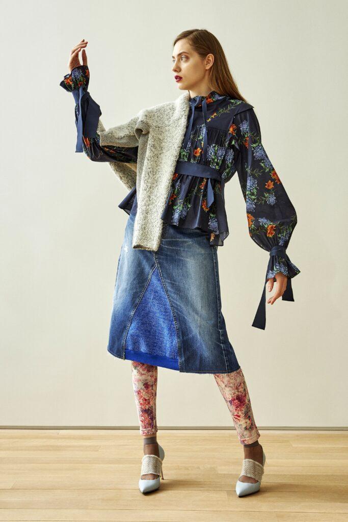 блуза с принт и буфан ръкав
