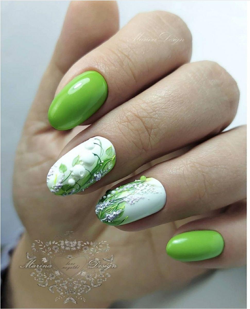 зелен маникюр релефни цветя