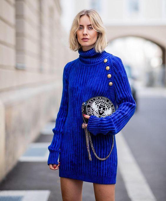 рокля кобалтово синьо