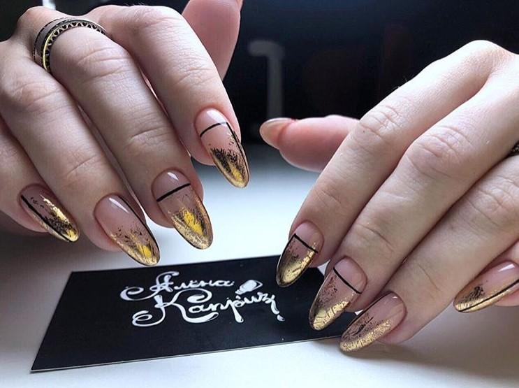 френски маникюр златно фолио