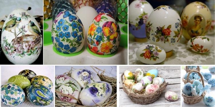 яйца в кошница с декупаж