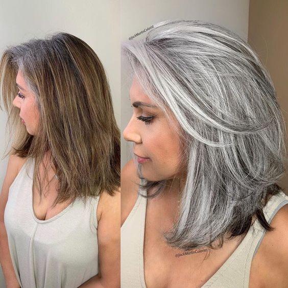 красива прическа на сиви коси