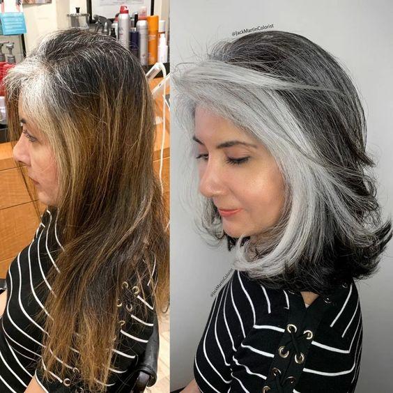 сребристо русо със сиви кичури