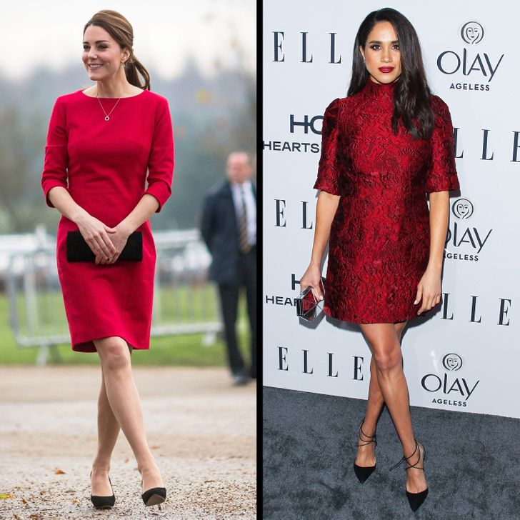 Кейт и Меган червена рокля