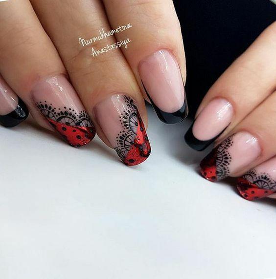 черно и червено маникюр