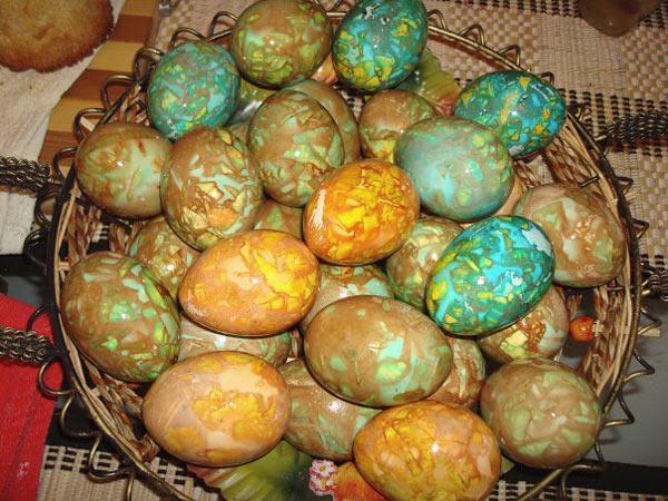 пъстри яйца с мраморен ефект