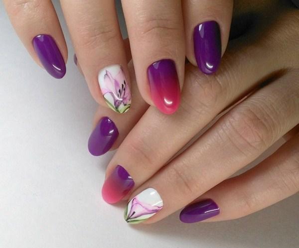 омбре в лилаво с цвете