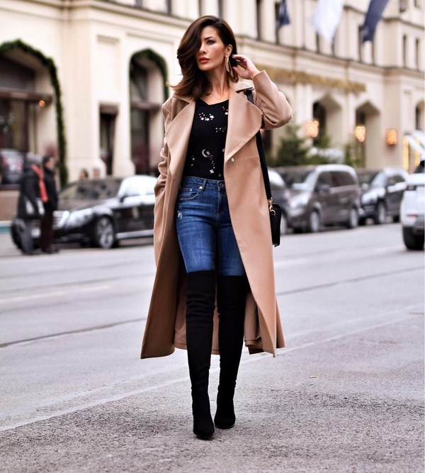 елегантно палто с дънки