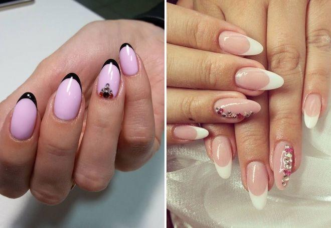 френски маникюр върху бадемови нокти