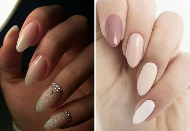 голи нокти с форма на бадем