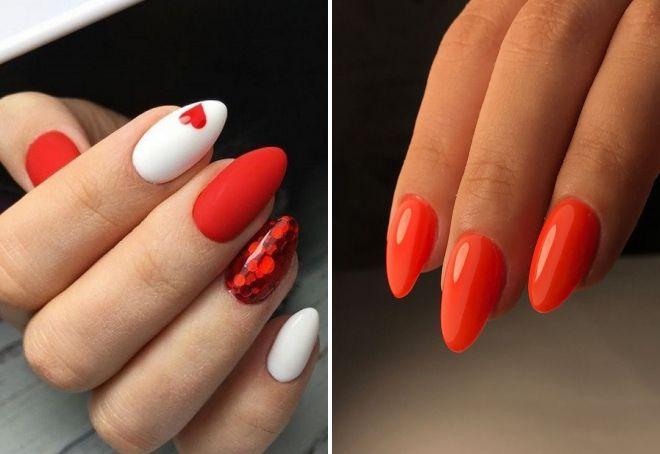 червен маникюр върху бадемови нокти