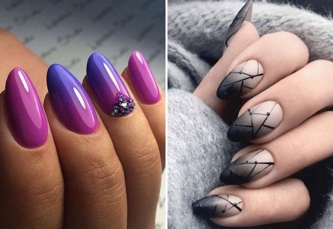 ombra върху бадемообразни нокти