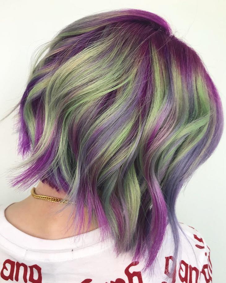 вълнист боб в зелено-лилаво