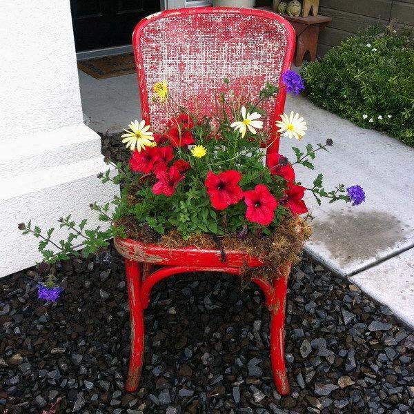 цветна леха от стария стол